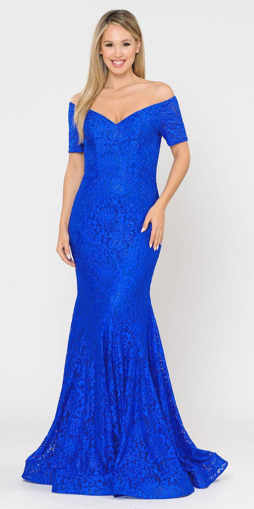 Poly USA 8596 Short Sleeved Off-Shoulder Long Formal Dress Royal Blue
