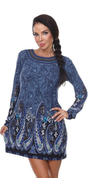 Short Boho Chic Style Country Dress Blue Long Sleeve