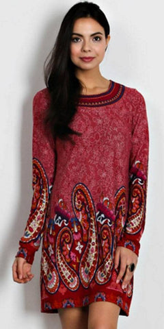 Short Boho Chic Style Country Dress Red Long Sleeve