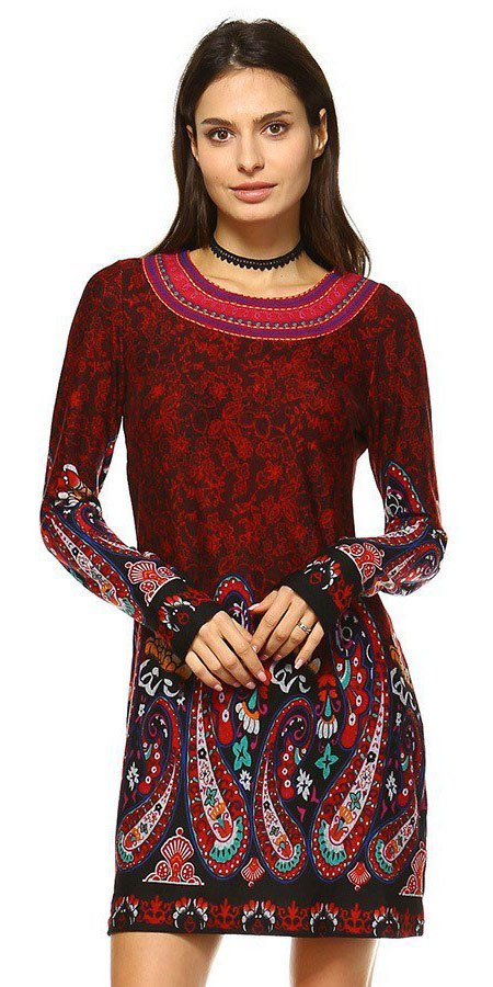 Short Boho Chic Style Country Dress Burgundy Long Sleeve