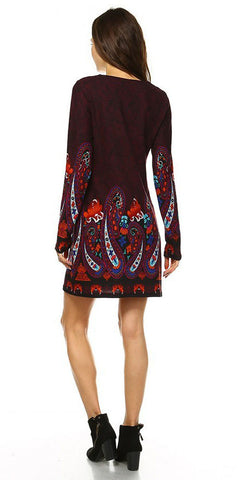 Short Boho Chic Style Country Dress Purple Long Sleeve