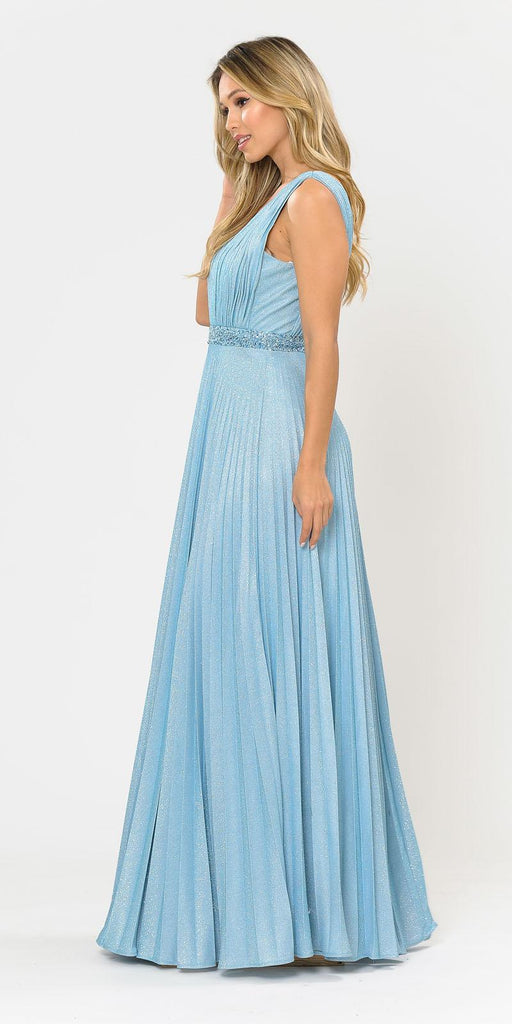 Sleeveless Pleated Long Prom Dress Beaded Waist Blue