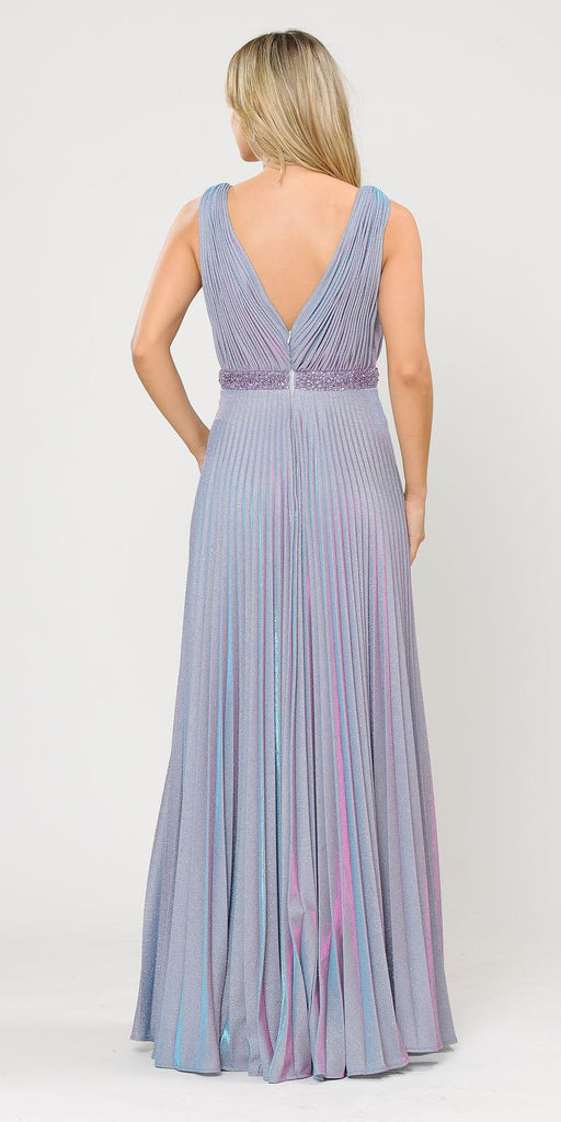 Sleeveless Pleated Long Prom Dress Beaded Waist Lavender