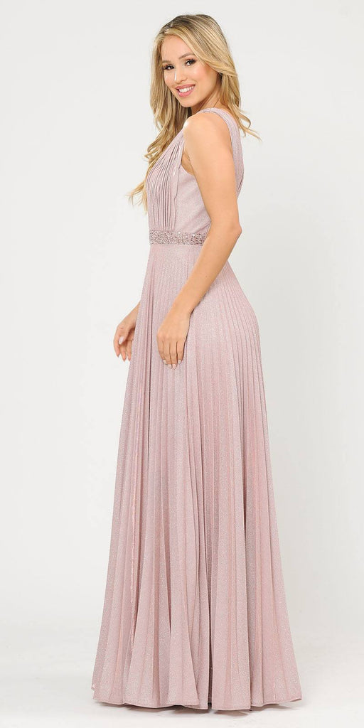 Sleeveless Pleated Long Prom Dress Beaded Waist Rose Gold
