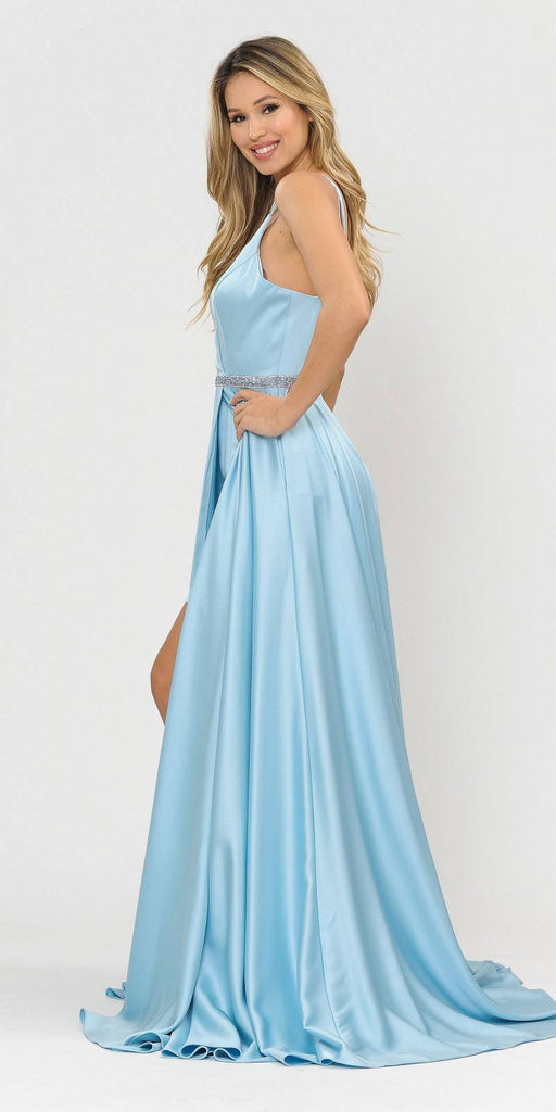 Blue Romper Style Long Prom Dress with Pockets