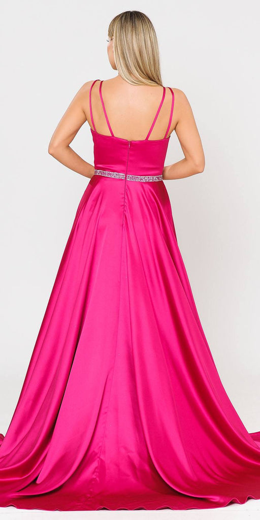 Fuchsia Romper Style Long Prom Dress with Pockets
