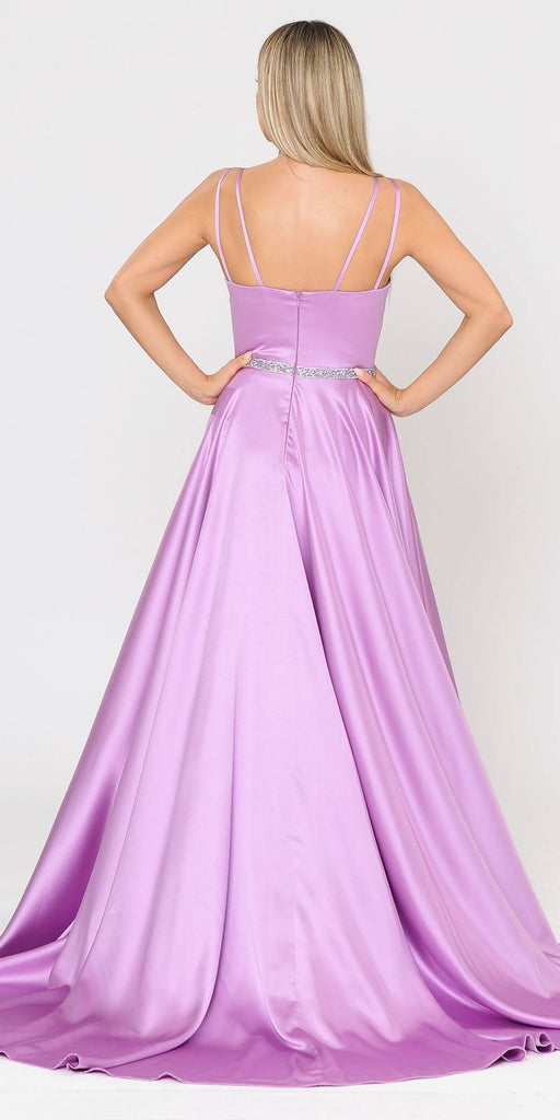Lilac Romper Style Long Prom Dress with Pockets