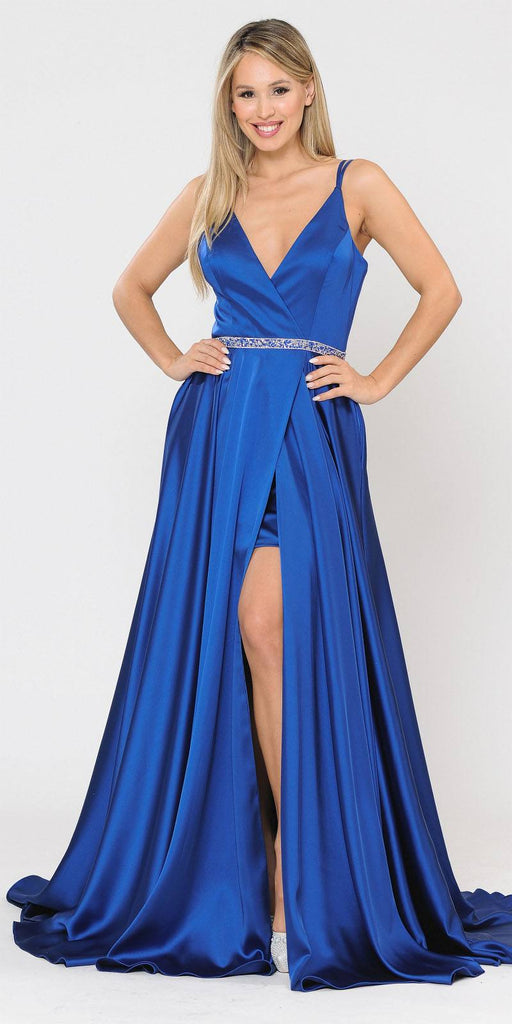 Royal Blue Romper Style Long Prom Dress with Pockets