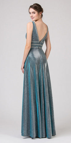 Green A-Line Metallic Long Prom Dress with Pockets