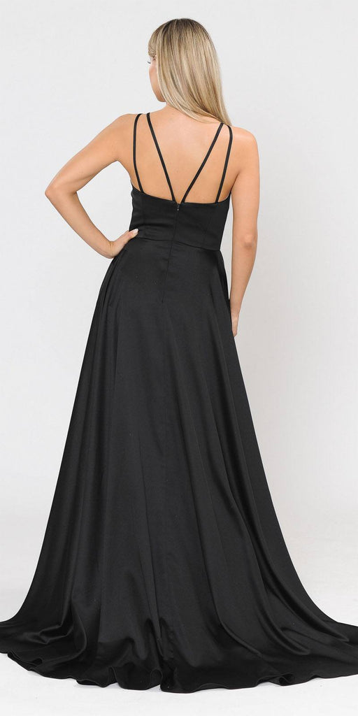 V-Neck Long Romper Prom Dress with Pockets Black