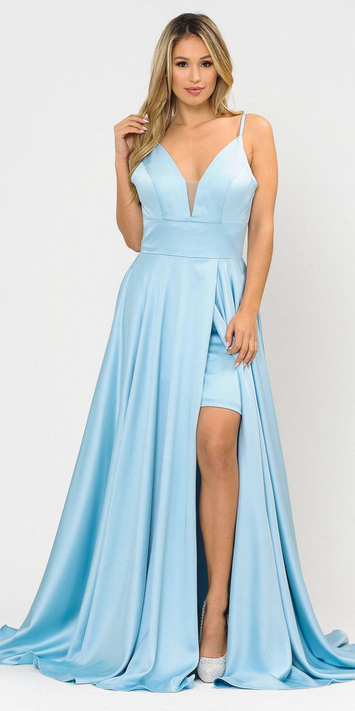 V-Neck Long Romper Prom Dress with Pockets Blue