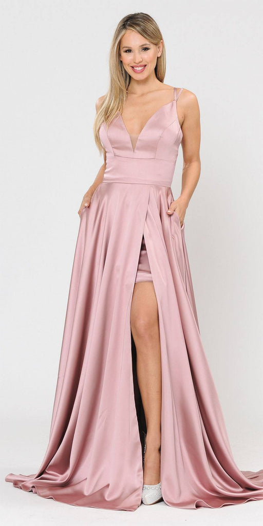 V-Neck Long Romper Prom Dress with Pockets Mauve