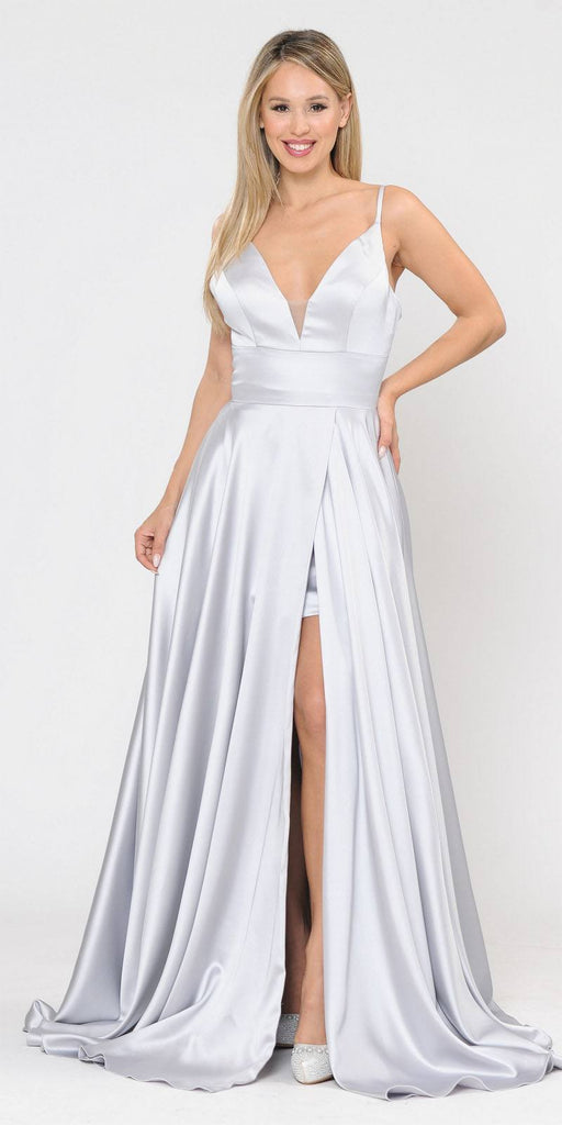 V-Neck Long Romper Prom Dress with Pockets Silver