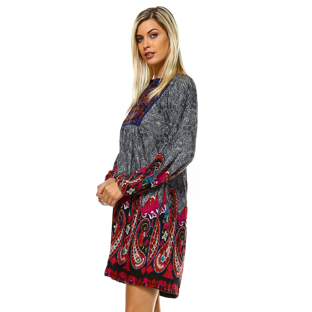 Casual Cowgirl Paisley Print Dress Gray Long Sleeves