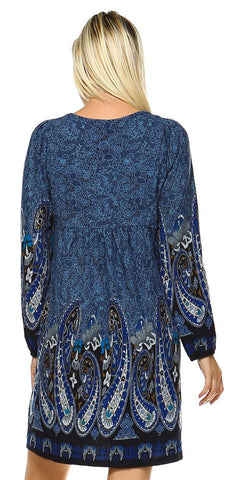 Casual Cowgirl Paisley Print Dress Blue Long Sleeves