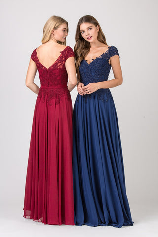 Burgundy Cap Sleeved Long Formal Dress Appliqued Bodice