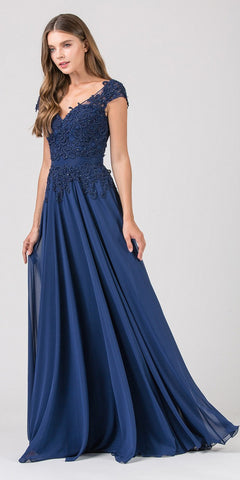 Navy Blue Cap Sleeved Long Formal Dress Appliqued Bodice