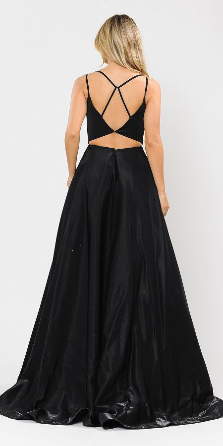 Stylish Open-Back Long Prom Dress Black with Pockets