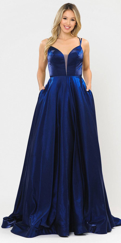 Stylish Open-Back Long Prom Dress Navy Blue with Pockets