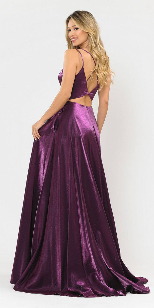 Stylish Open-Back Long Prom Dress Purple with Pockets