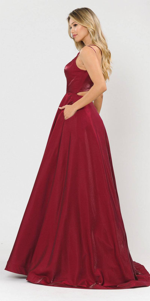Stylish Open-Back Long Prom Dress Red with Pockets