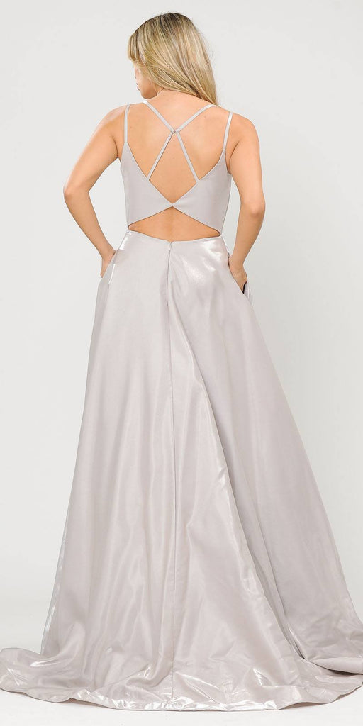 Stylish Open-Back Long Prom Dress Silver with Pockets