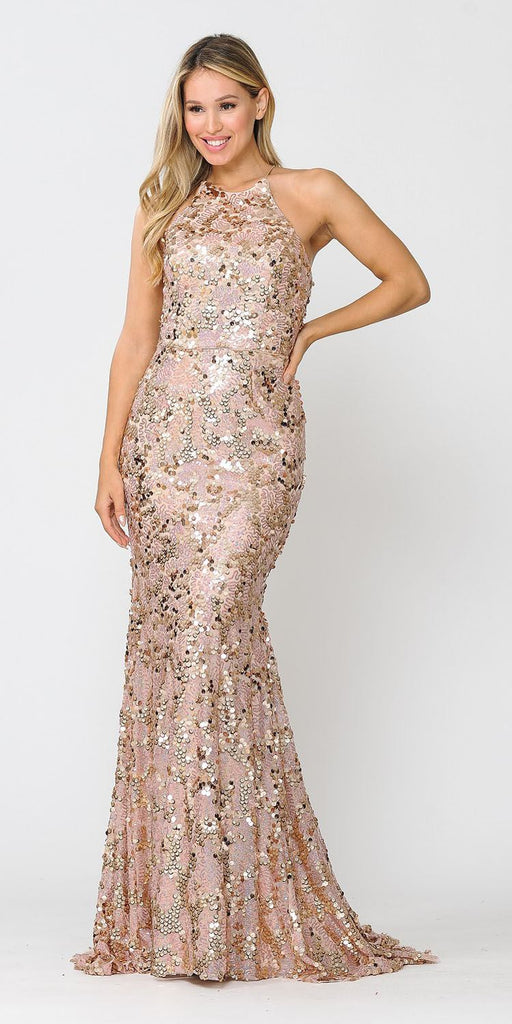 Rose Gold Halter Sequin Long Prom Dress Lace-Up Open Back