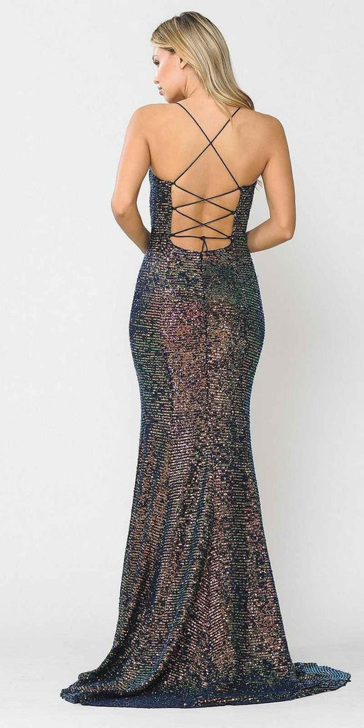 Multi-Color Lace-Up Back Long Prom Dress with Spaghetti Strap