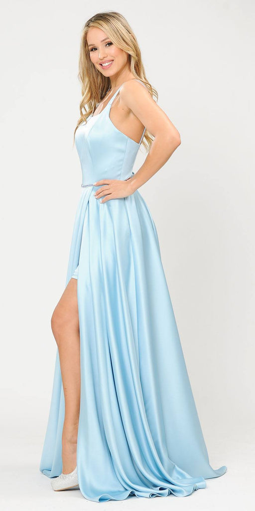 Long Romper Prom Dress with Cut-Out Lace-Up Back Blue