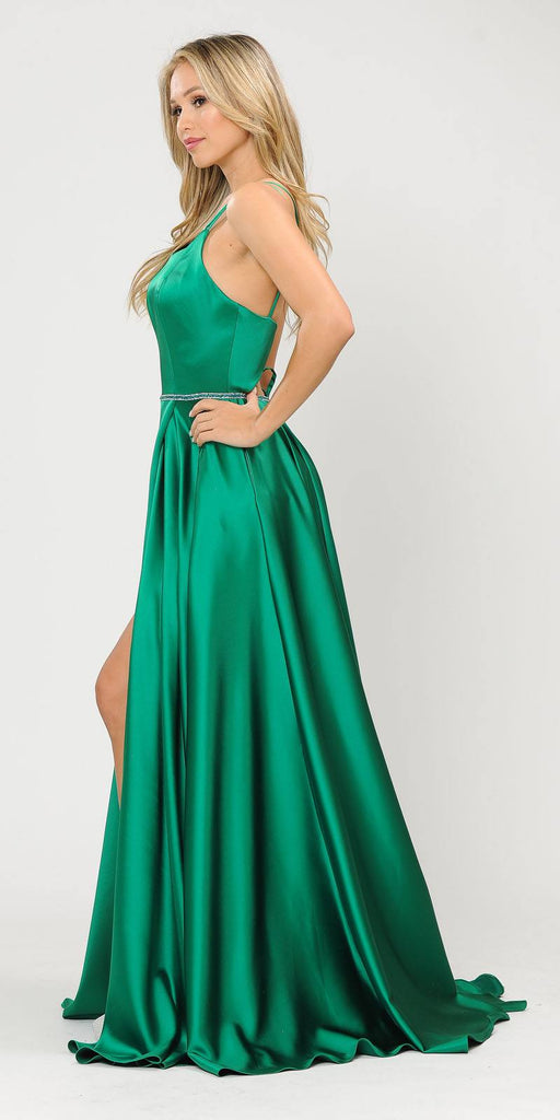 Long Romper Prom Dress with Cut-Out Lace-Up Back Kelly Green