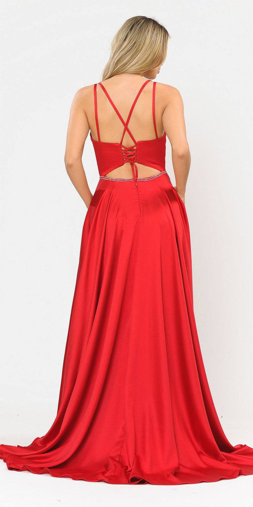 Long Romper Prom Dress with Cut-Out Lace-Up Back Red