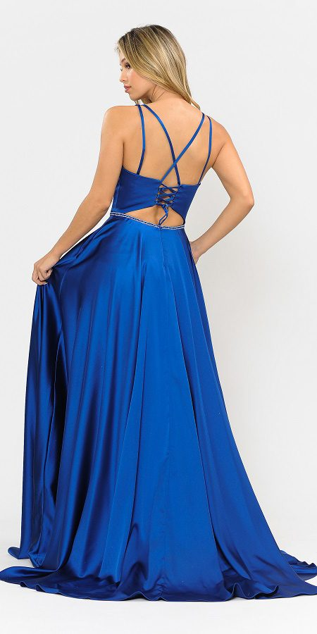 Long Romper Prom Dress with Cut-Out Lace-Up Back Royal Blue