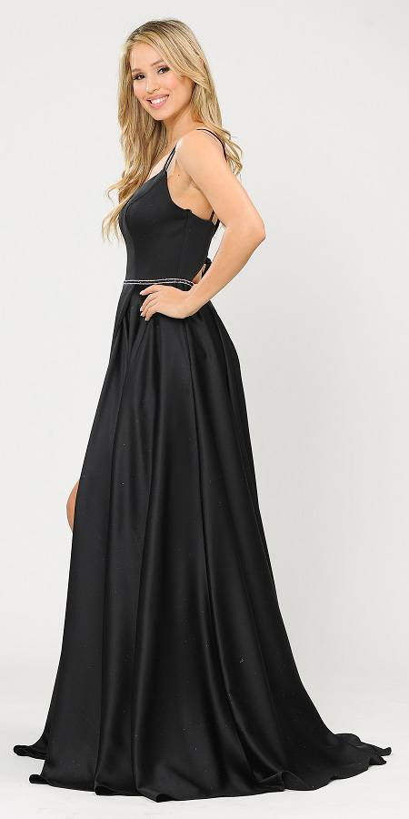 Black Romper Style Long Prom Dress with Pockets