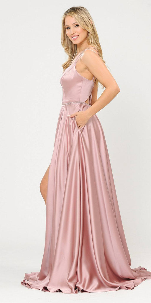 Mauve Romper Style Long Prom Dress with Pockets