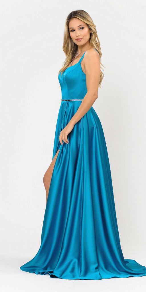 Teal Romper Style Long Prom Dress with Pockets