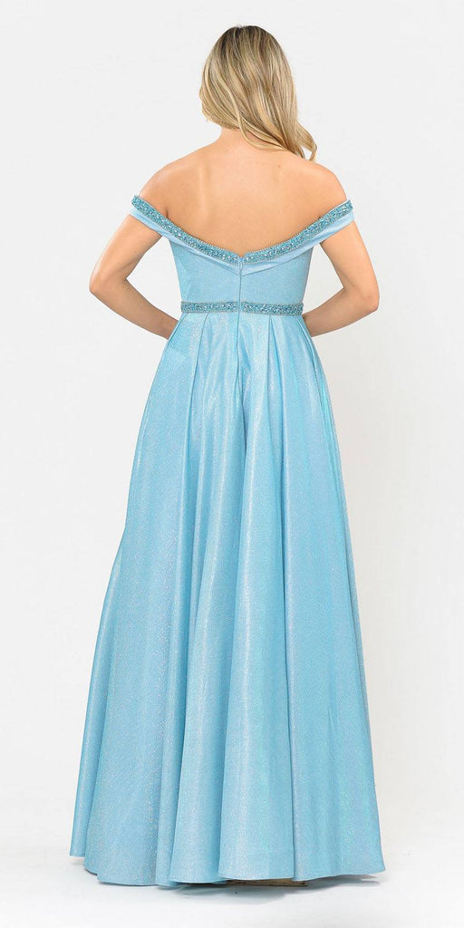 Poly USA 8664 Blue Off-Shoulder Long Prom Dress with Pockets