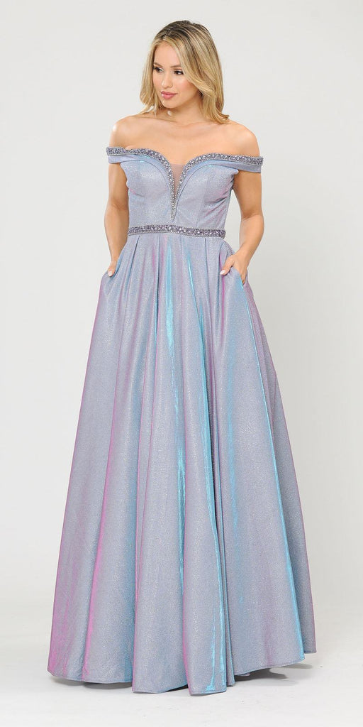 Poly USA 8664 Lavender Off-Shoulder Long Prom Dress with Pockets