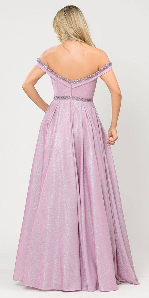 Poly USA 8664 Pink/Lilac Off-Shoulder Long Prom Dress with Pockets