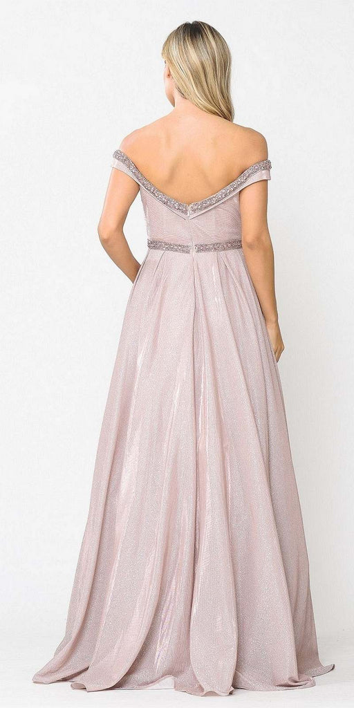 Poly USA 8664 Rose Gold Off-Shoulder Long Prom Dress with Pockets