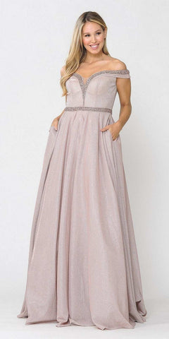 Rose Gold Off-Shoulder Long Prom Dress with Pockets