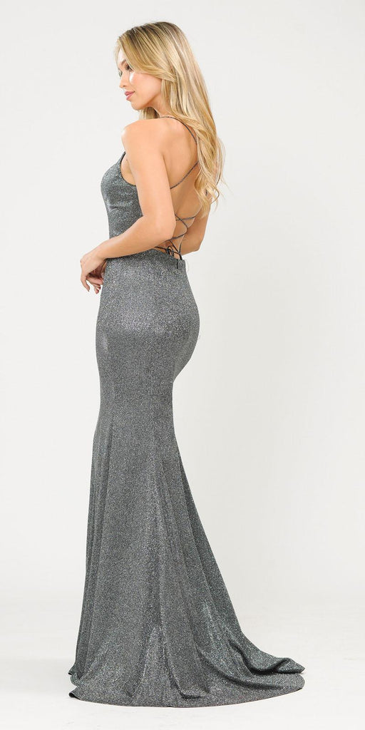 Poly USA 8666 Lace-Up Back Black/Silver Long Prom Dress