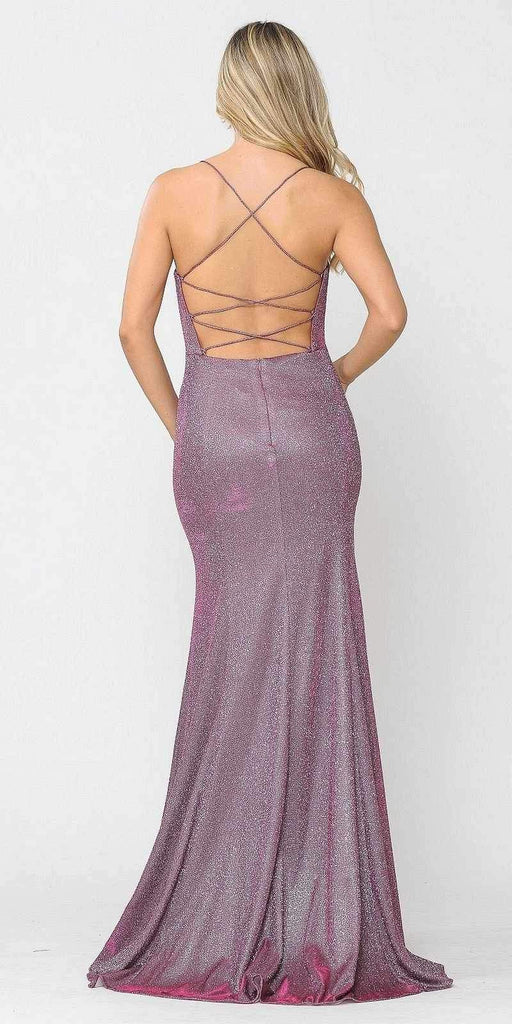 Poly USA 8666 Lace-Up Back Magenta Long Prom Dress
