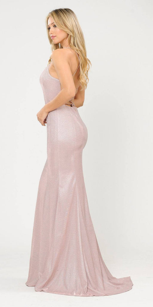 Poly USA 8666 Lace-Up Back Rose Gold Long Prom Dress