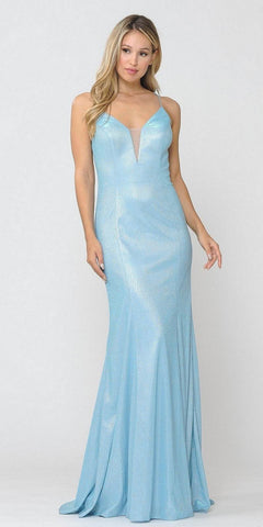 A-Line Slit Gown Blue Floor Length Deep V-Neckline Sparkle Glitter Fabric