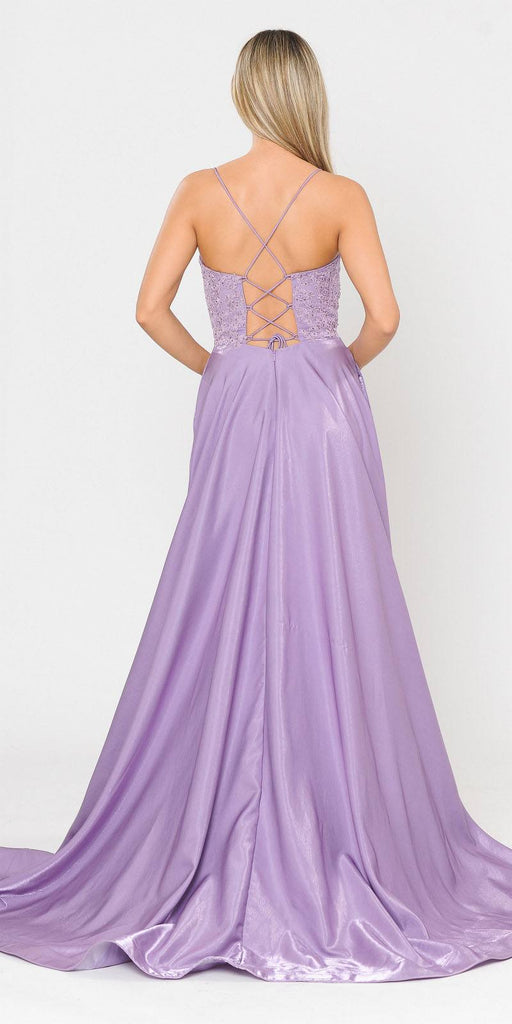 Lace-Up Back Lavender Long Prom Dress with Pockets
