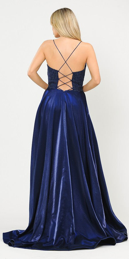 Lace-Up Back Navy Blue Long Prom Dress with Pockets