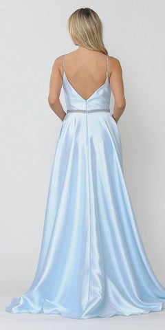 Poly USA 8672 Long Satin Prom Dress with Spaghetti Straps Blue