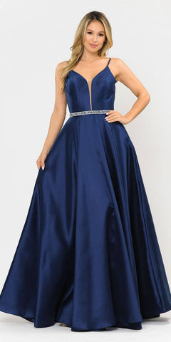 Poly USA 8672 Long Satin Prom Dress with Spaghetti Straps Navy Blue