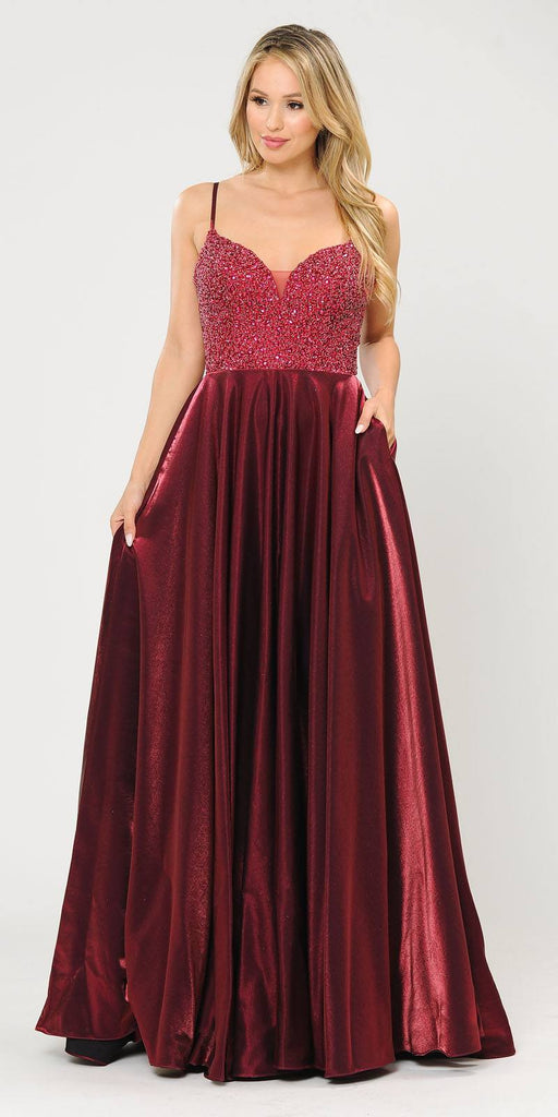 Poly USA 8674 Burgundy Long Prom Dress Embellished with Pockets