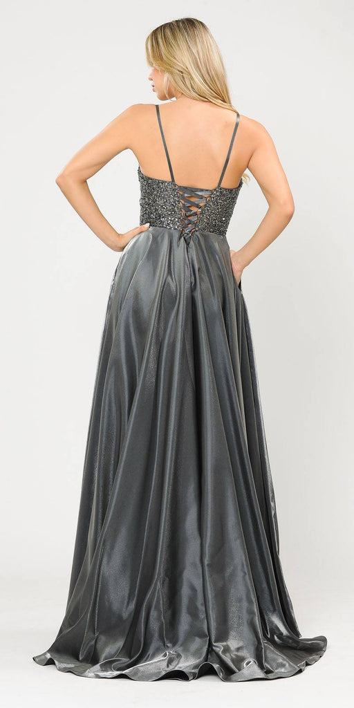Poly USA 8674 Dark Silver Long Prom Dress Embellished with Pockets